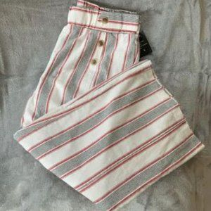 Robert Louis Striped Linen Wide Leg Cropped NWT